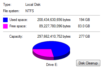 sample disk partition usage