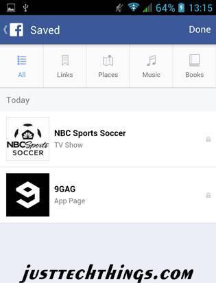 facebook save button screen