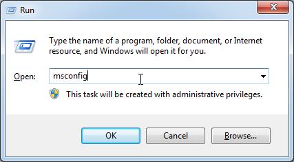 msconfig using run command
