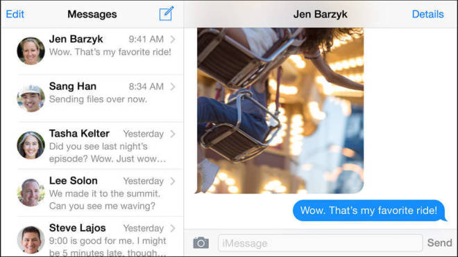 landscape messages iPhone6 Plus