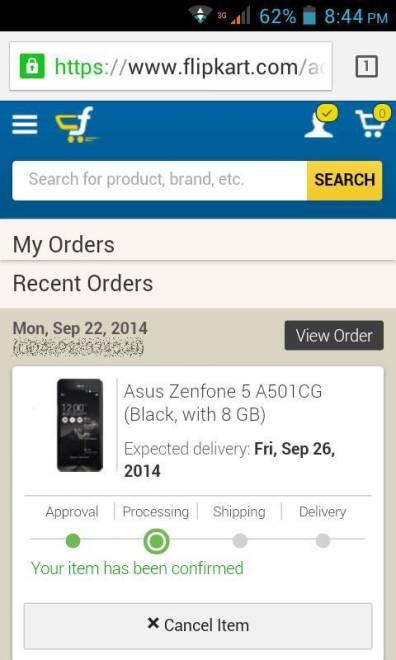 zenfone flipkart order confirmed
