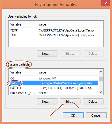 Edit path in System environment variables