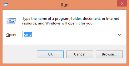 running command prompt using run