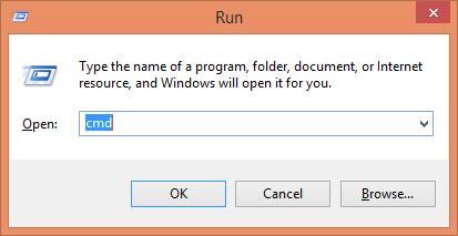 running command prompt using run